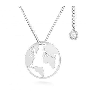 Carte du monde collier argent 925