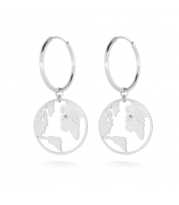Globe hoop earrings MON DÉFI satin sterling silver 925