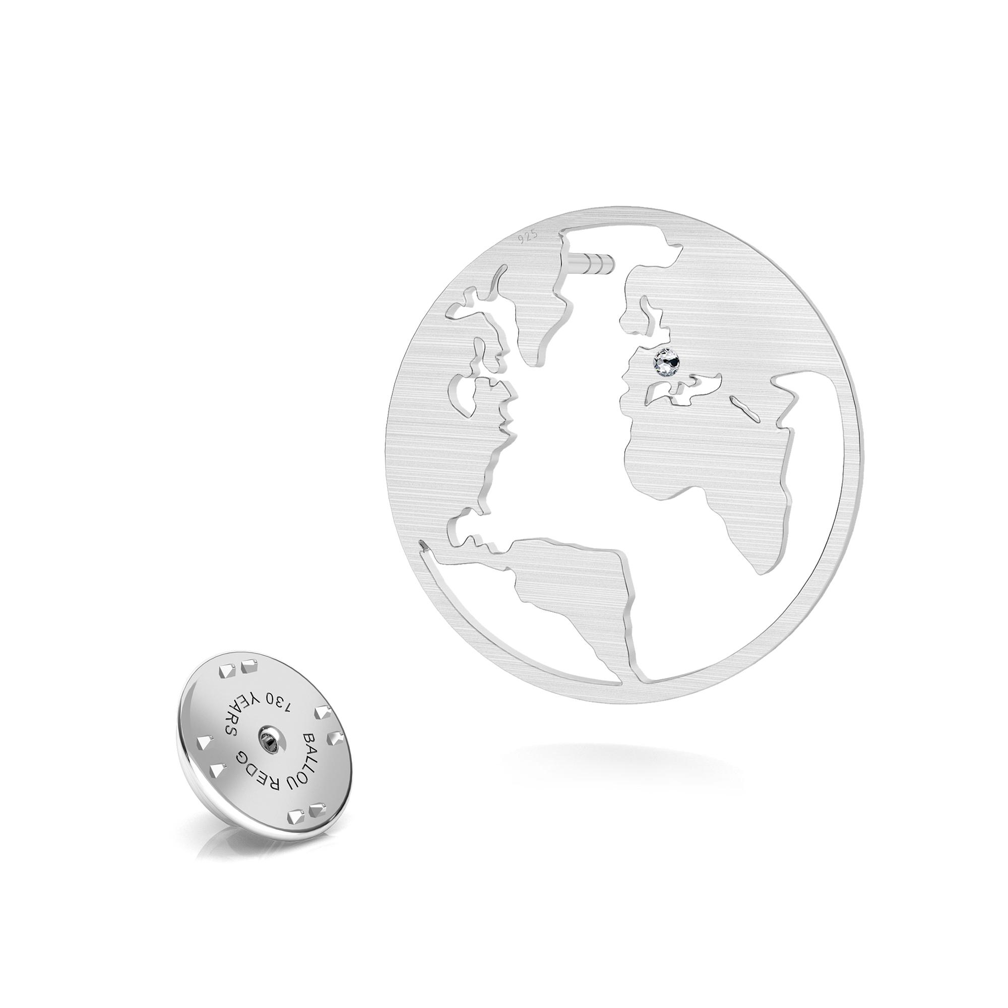 Globo terráqueo pin de solapa, plata 925