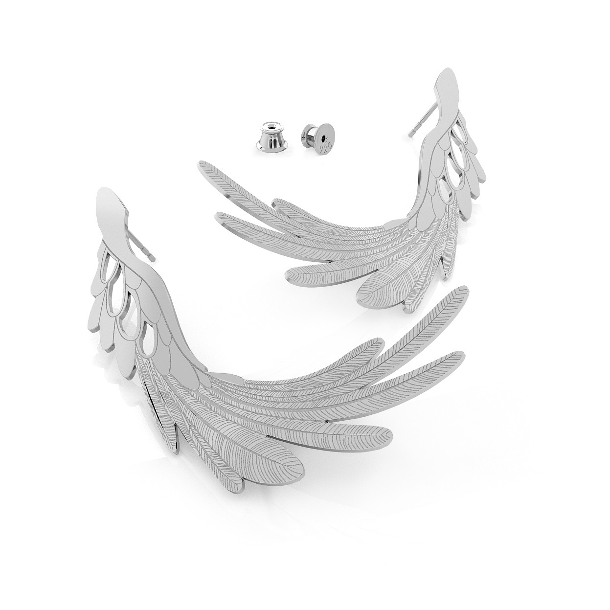 EARRINGS BIG ANGEL WINGS, STERLING SILVER (925) RHODIUM OR GOLD PLATED