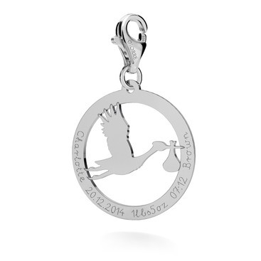 "CHARM 125 ""STORK"" WITH PERSONALISED ENGRAVING, STERLING SILVER 925, RHODIUM OR GOLD PLATED"