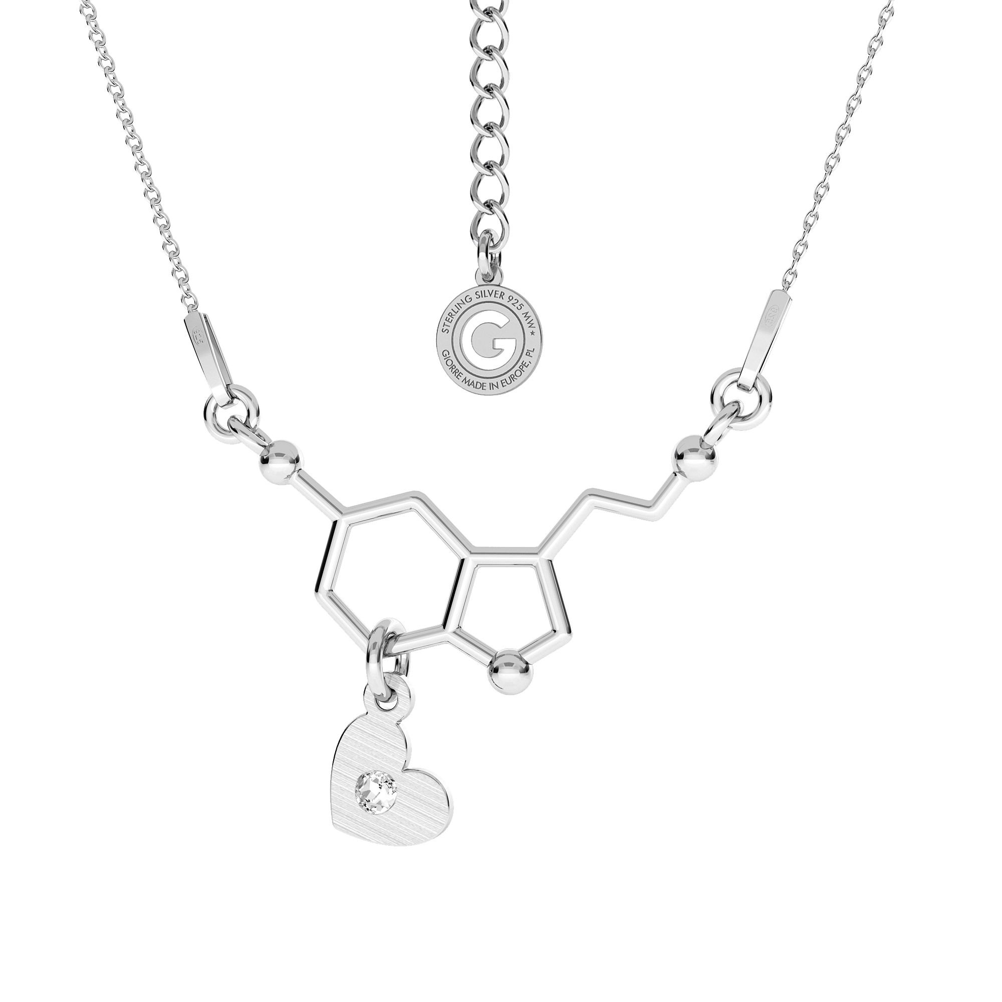 Srebrny naszyjnik SEROTONINA, wzór chemiczny 925