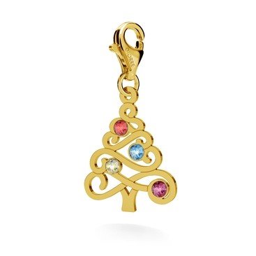 "CHARM 127 "" CHRISTMAS TREE"" SWAROVSKI 2038 SS 6, SILVER 925, RHODIUM AND GOLD PLATED"