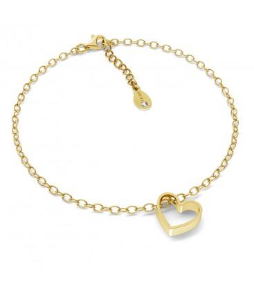 Złocona bransoletka serce srebro 925