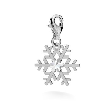CHARM 128, SNOWFLAKE, SWAROVSKI 2038 SS 6, STERLING SILVER (925) RHODIUM OR GOLD PLATE