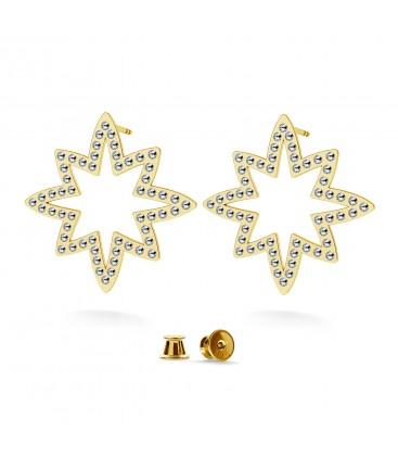 Kolczyki - gwiazda wysadzana kryształami Swarovski, srebro 925