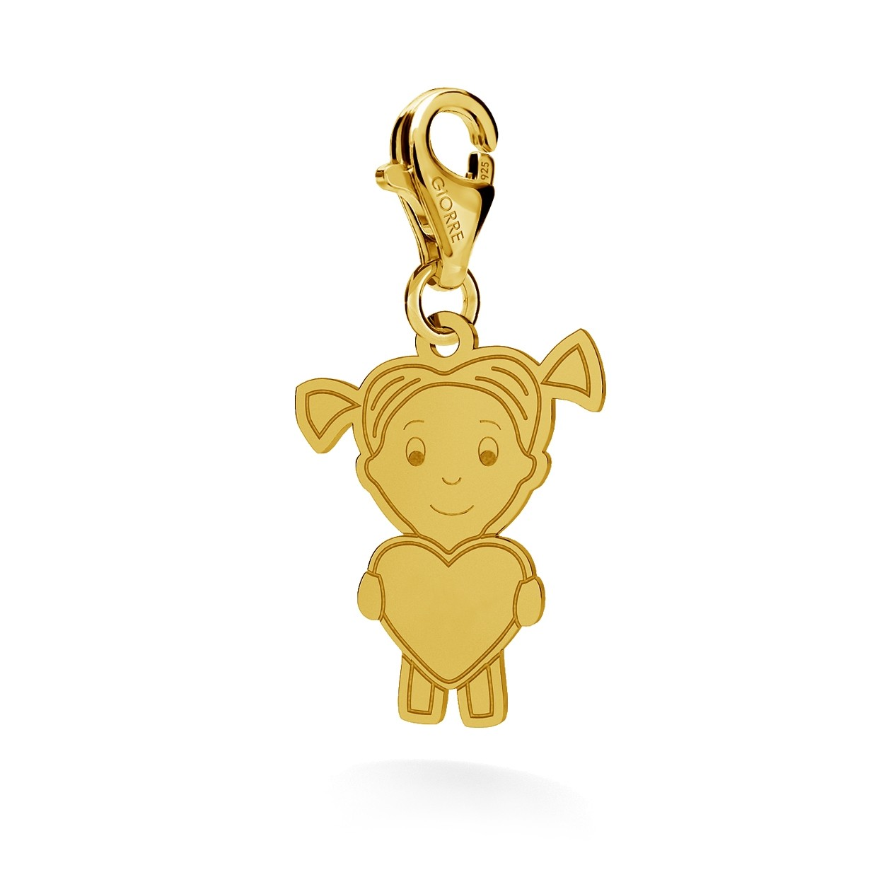 CHARM 130, GIRL OR BOY WITH ENGRAVE, STERLING SILVER (925) RHODIUM OR GOLD PLATED