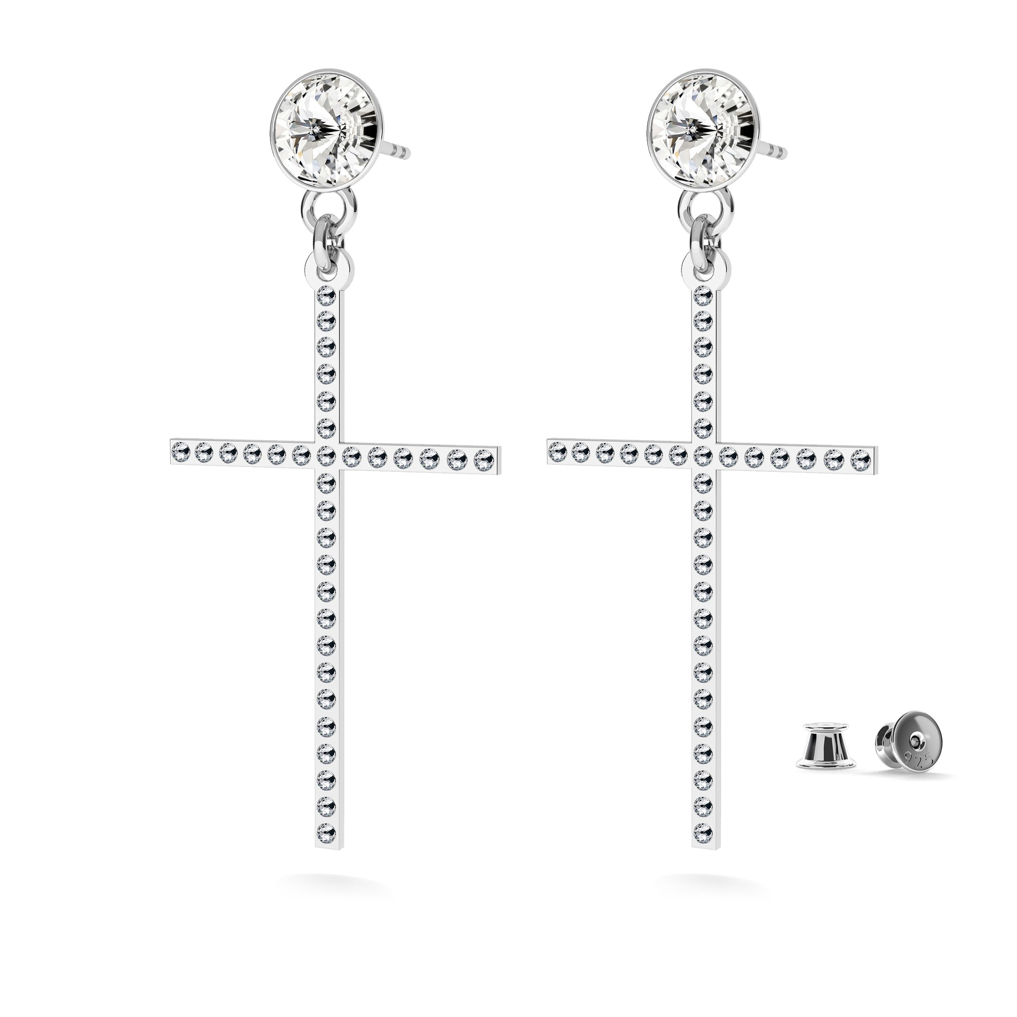 Silver MOON earrings with Swarovski crystals 925