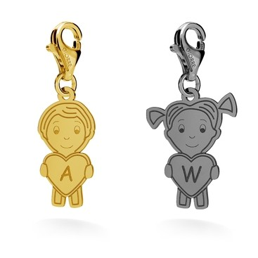 "CHARM 130 ""BOY OR GIRL"", ENGRAVED, SILVER 925, RHODIUM OR GOLD PLATED"