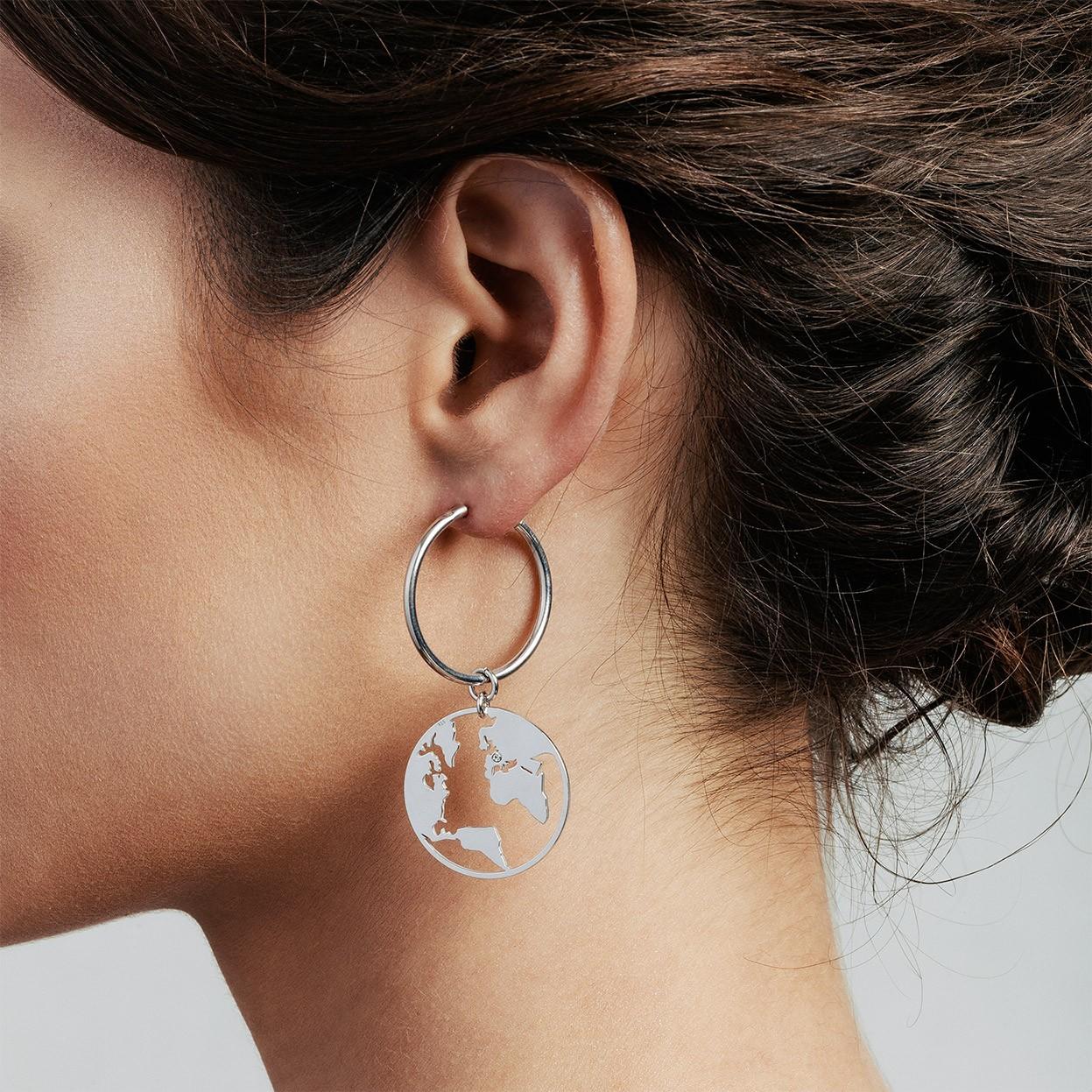 Attraversare cerchio orecchini argento 925