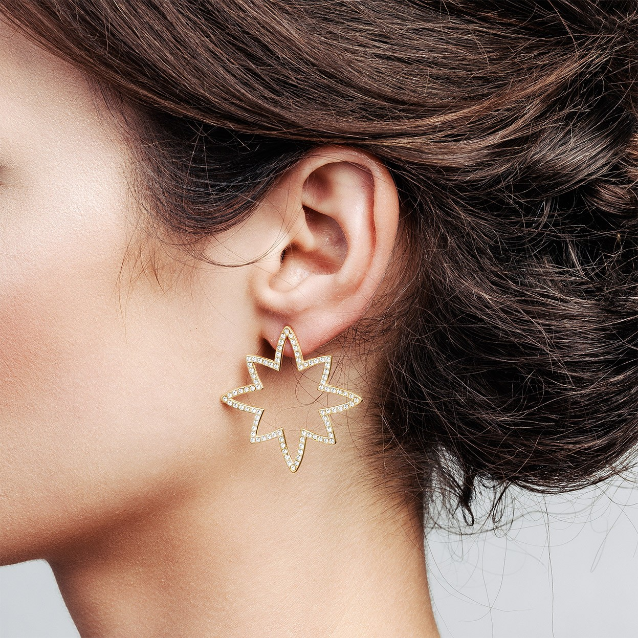 Silver star earrings with swarovski crystals