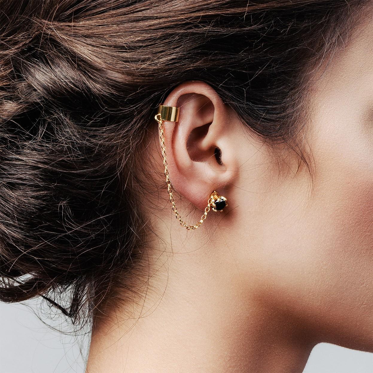 Chain earrings 3 mm Swarovski zirconia sterling silver 925