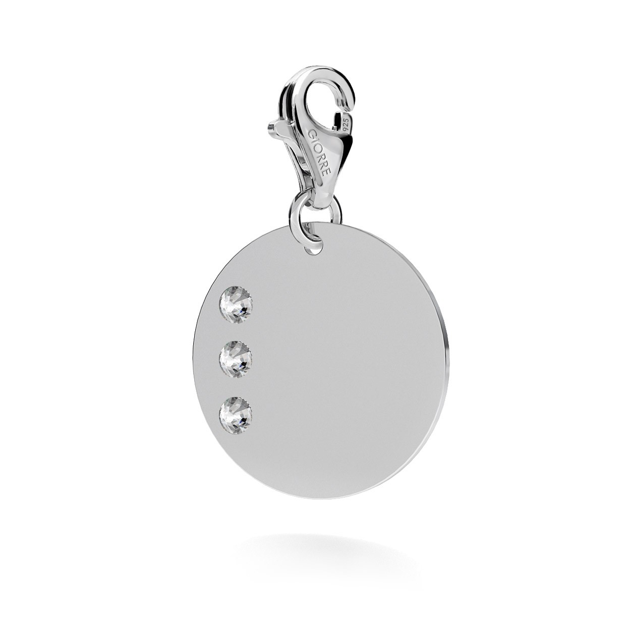 CHARM 131, ROUND DISC NAME WITH ENGRAVE, SWAROVSKI 2038 SS 6, STERLING SILVER (925) RHODIUM OR GOLD PLATE