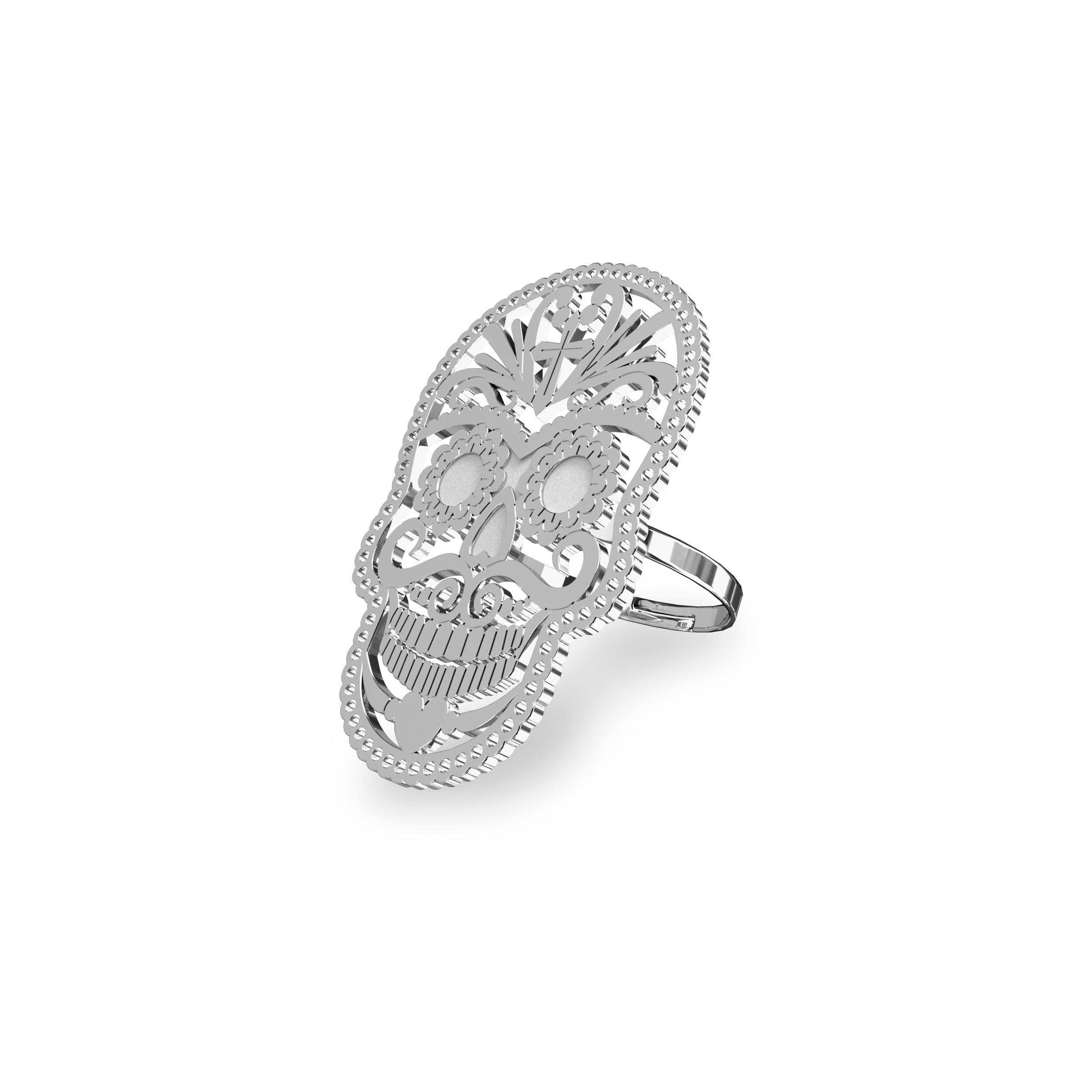 Silver SUGAR SKULL ring 925