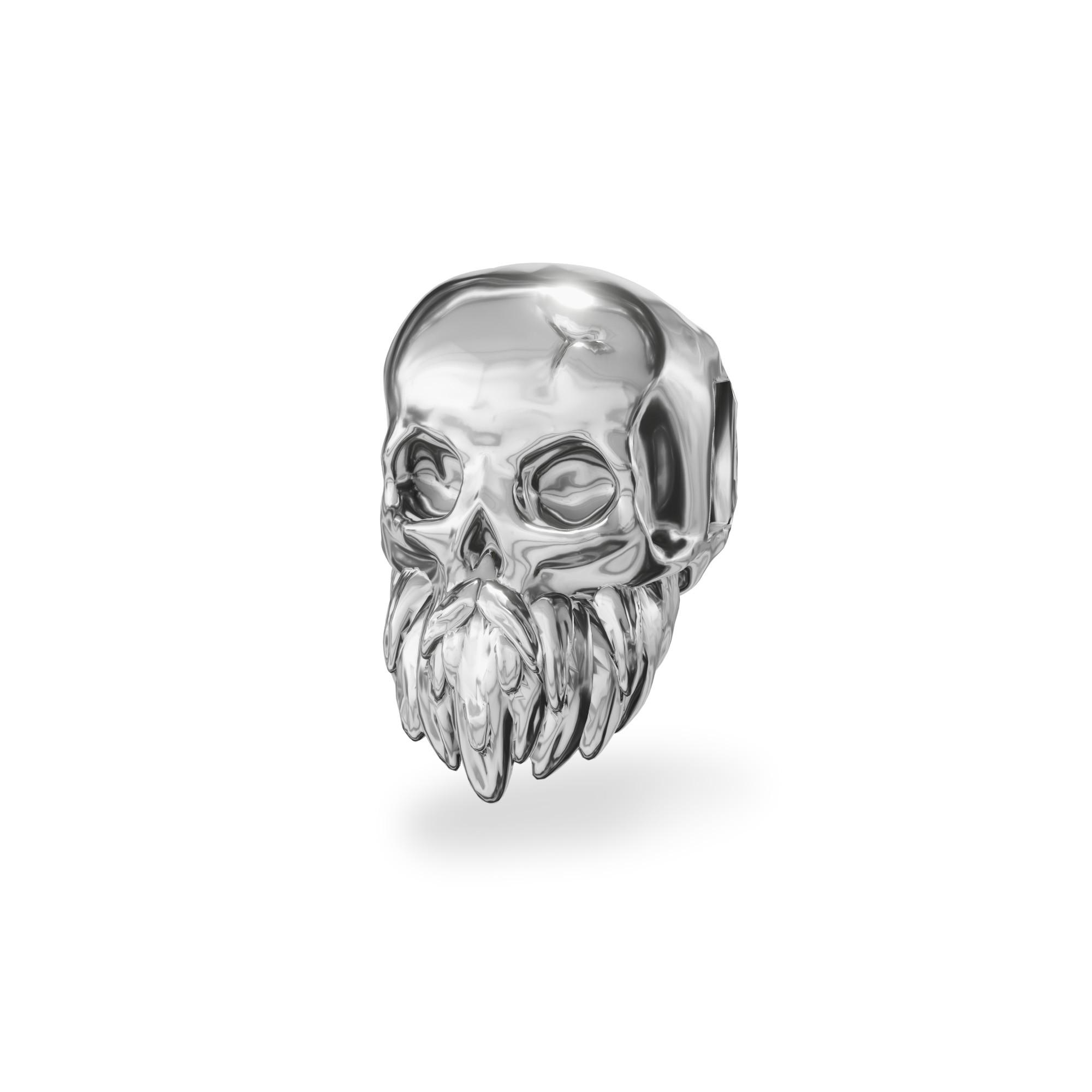 Srebrny beads przekładka CZASZKA z brodą srebro 925