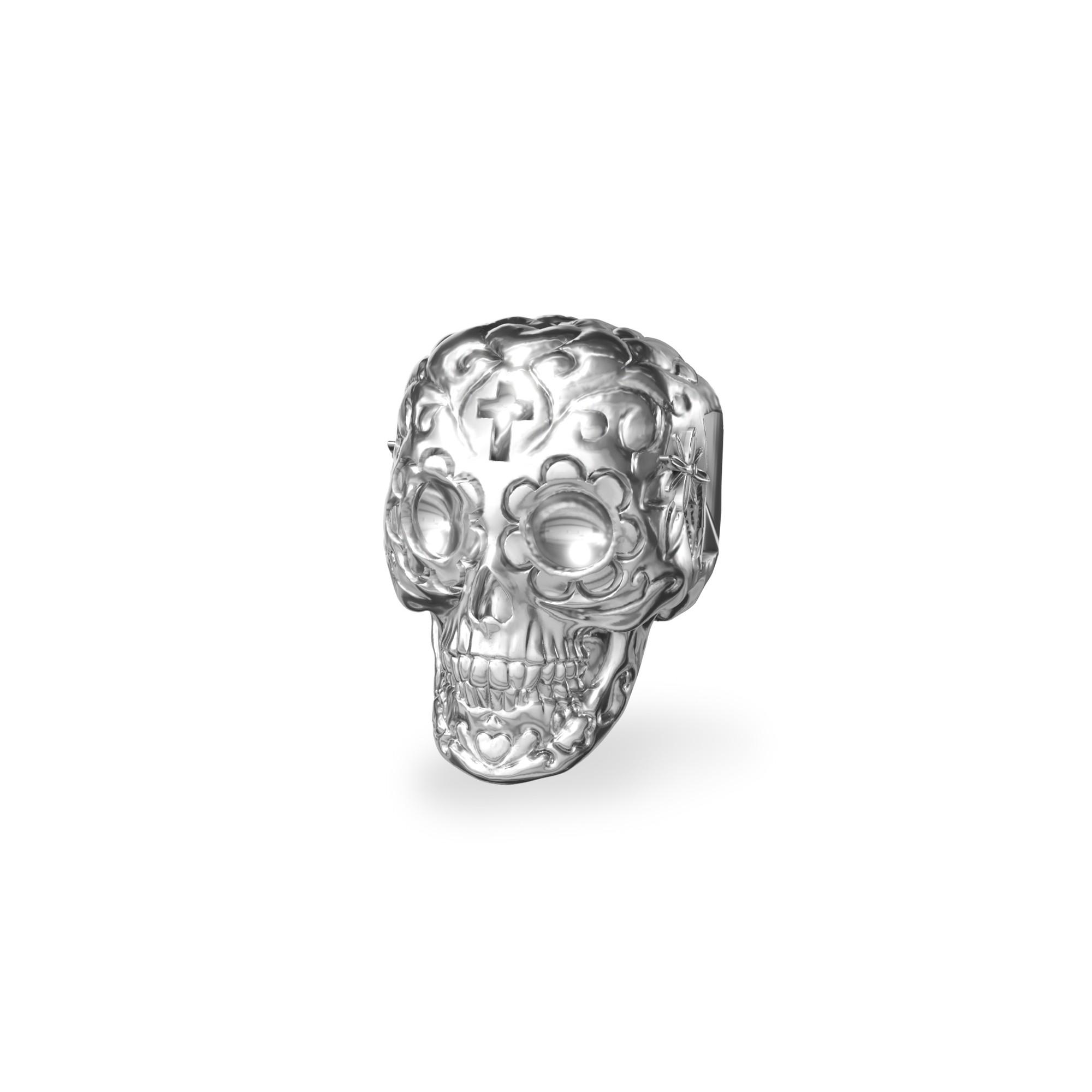 Srebrny beads przekładka CZASZKA cukrowa srebro 925