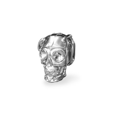 Srebrny beads przekładka CZASZKA robot srebro 925
