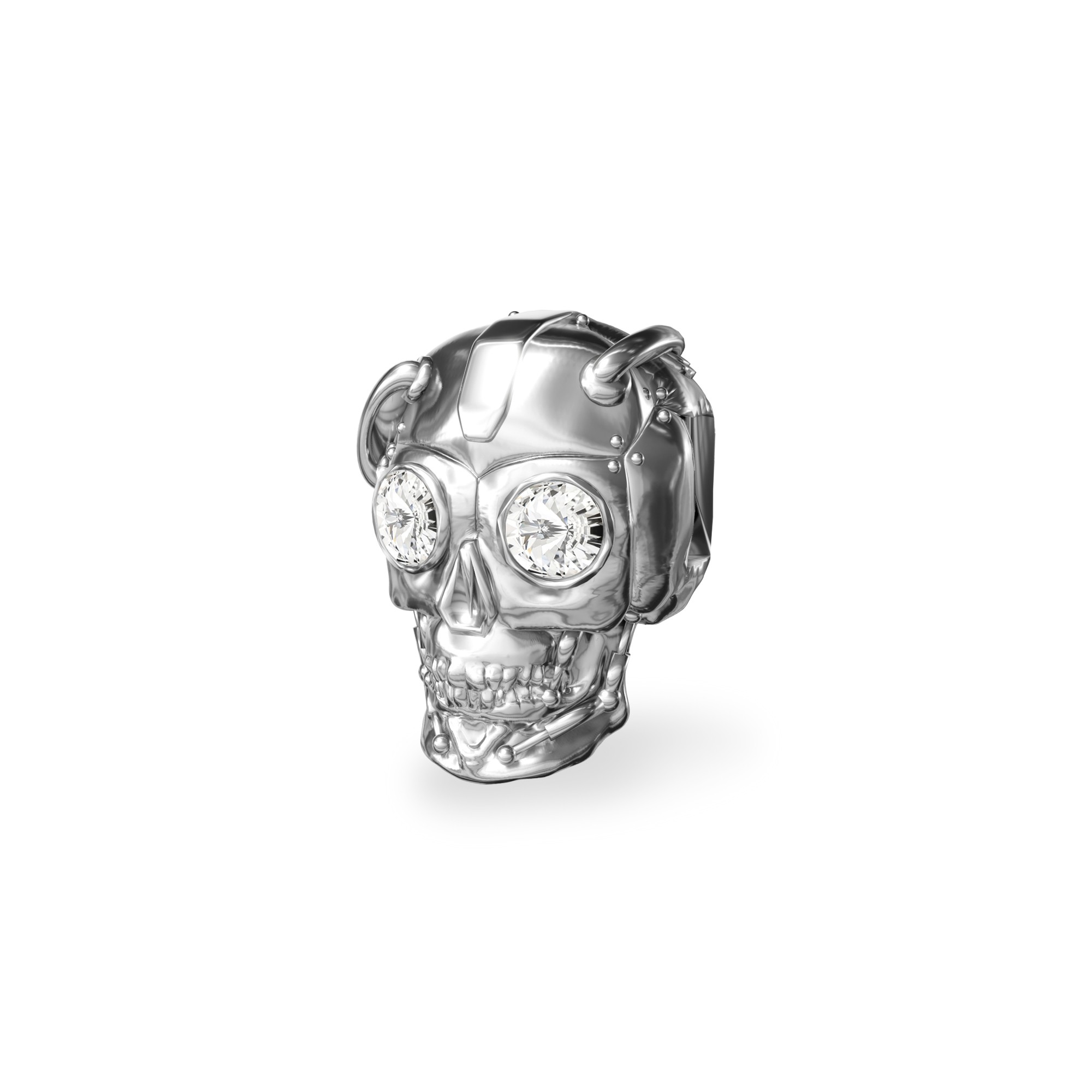 Silver spacer robot SKULL beads 925 with Swarovski Crystals