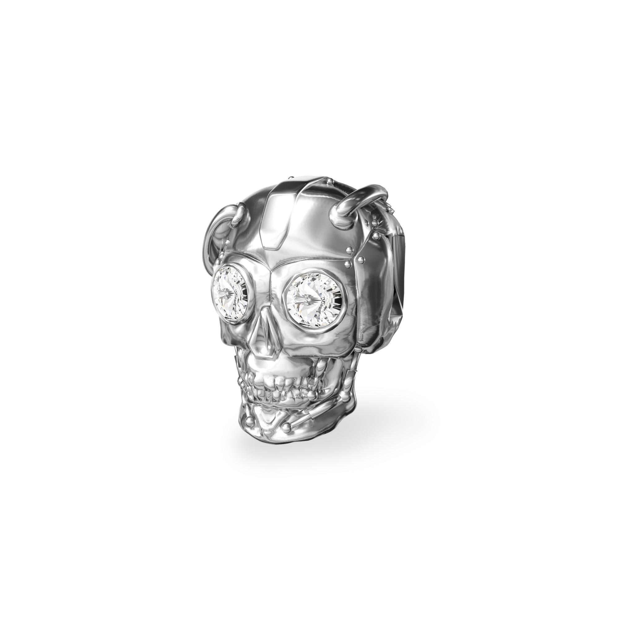 Srebrny beads przekładka CZASZKA robot z kryształami Swarovskiego srebro 925