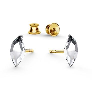 DIAMOND LEAF EARRINGS, SWAROVSKI 2927 MM 6, RHODIUM OR GOLD PLATED