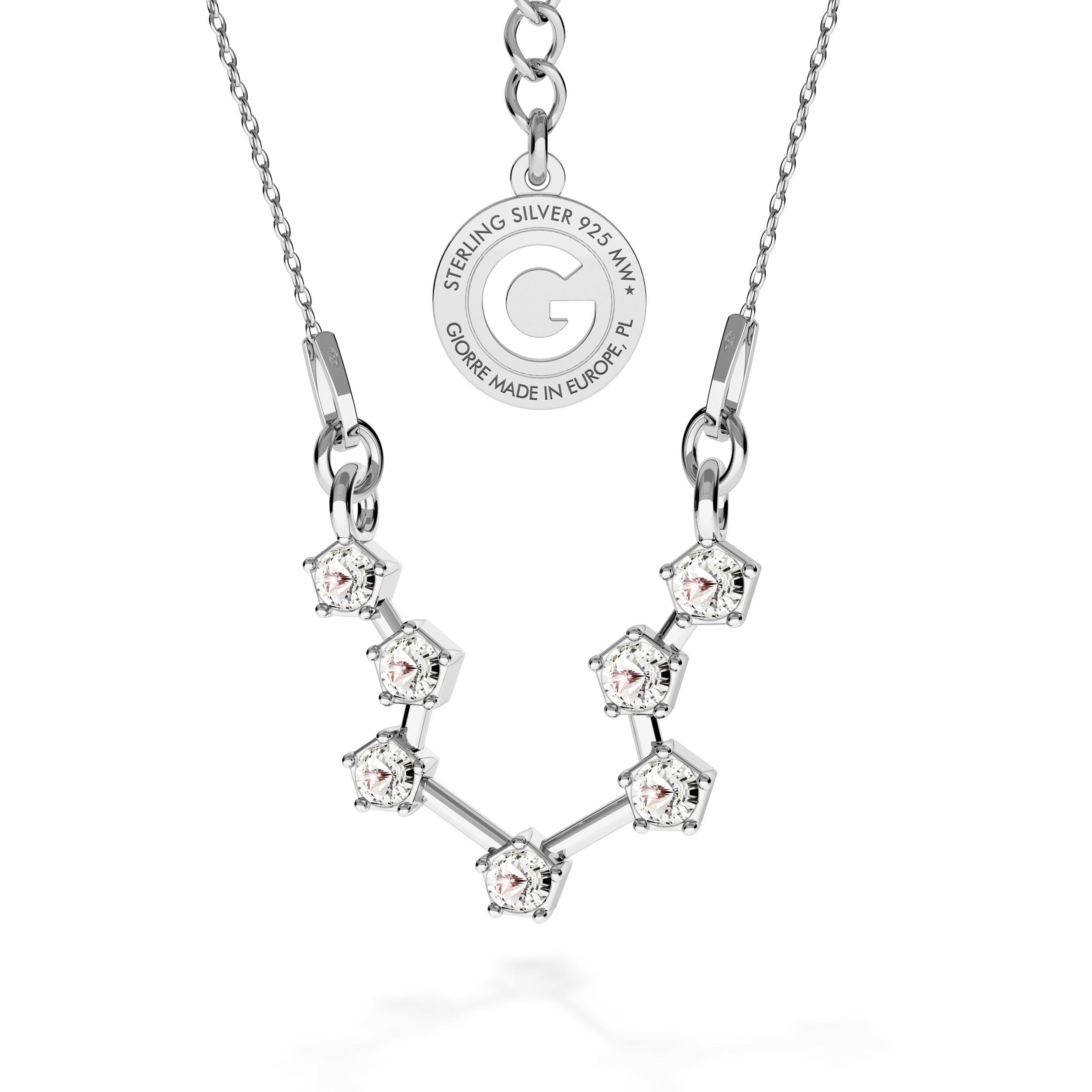 AQUARIUS zodiac sign necklace with Swarovski Crystals silver 925