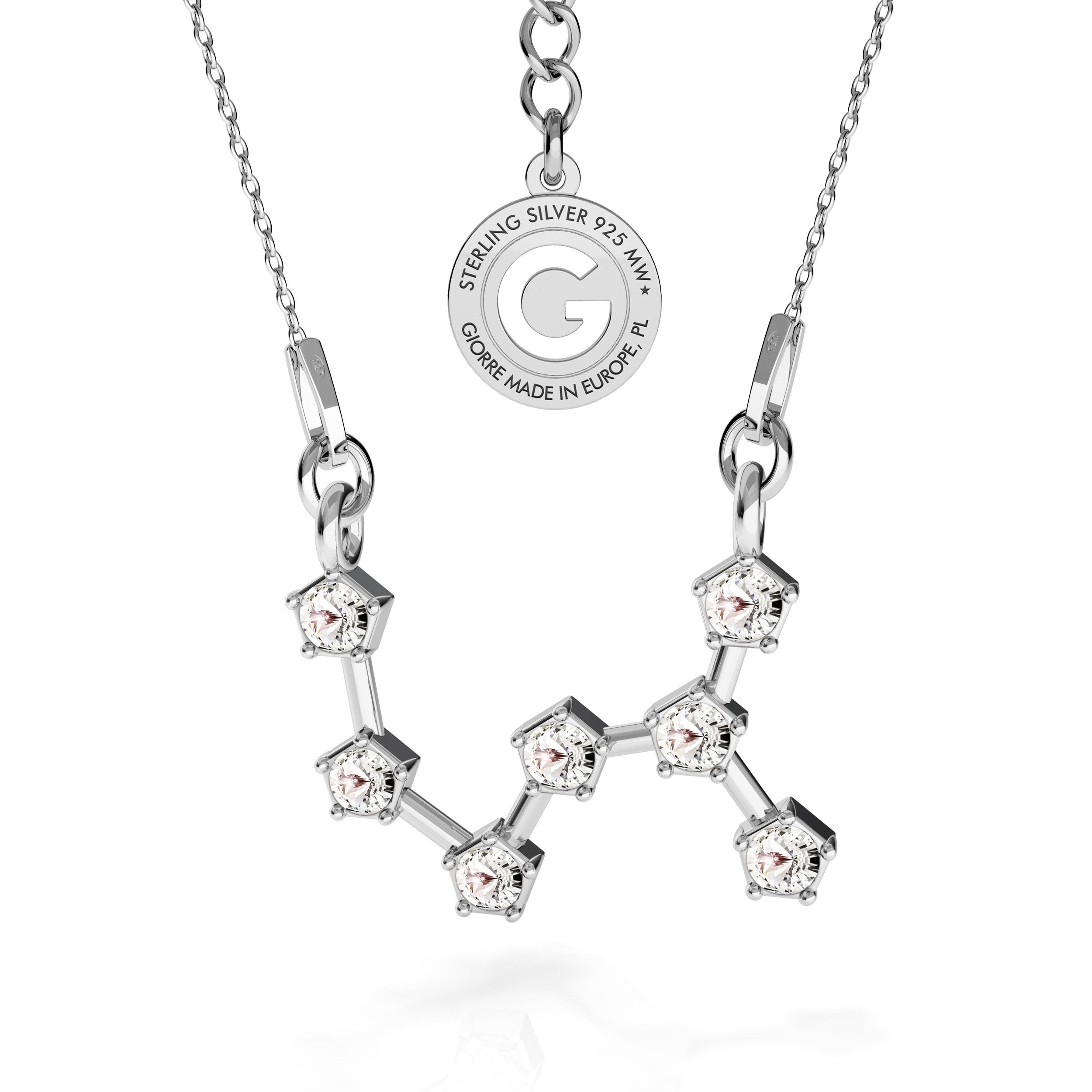 SCORPION zodiac sign necklace with Swarovski Crystals silver 925