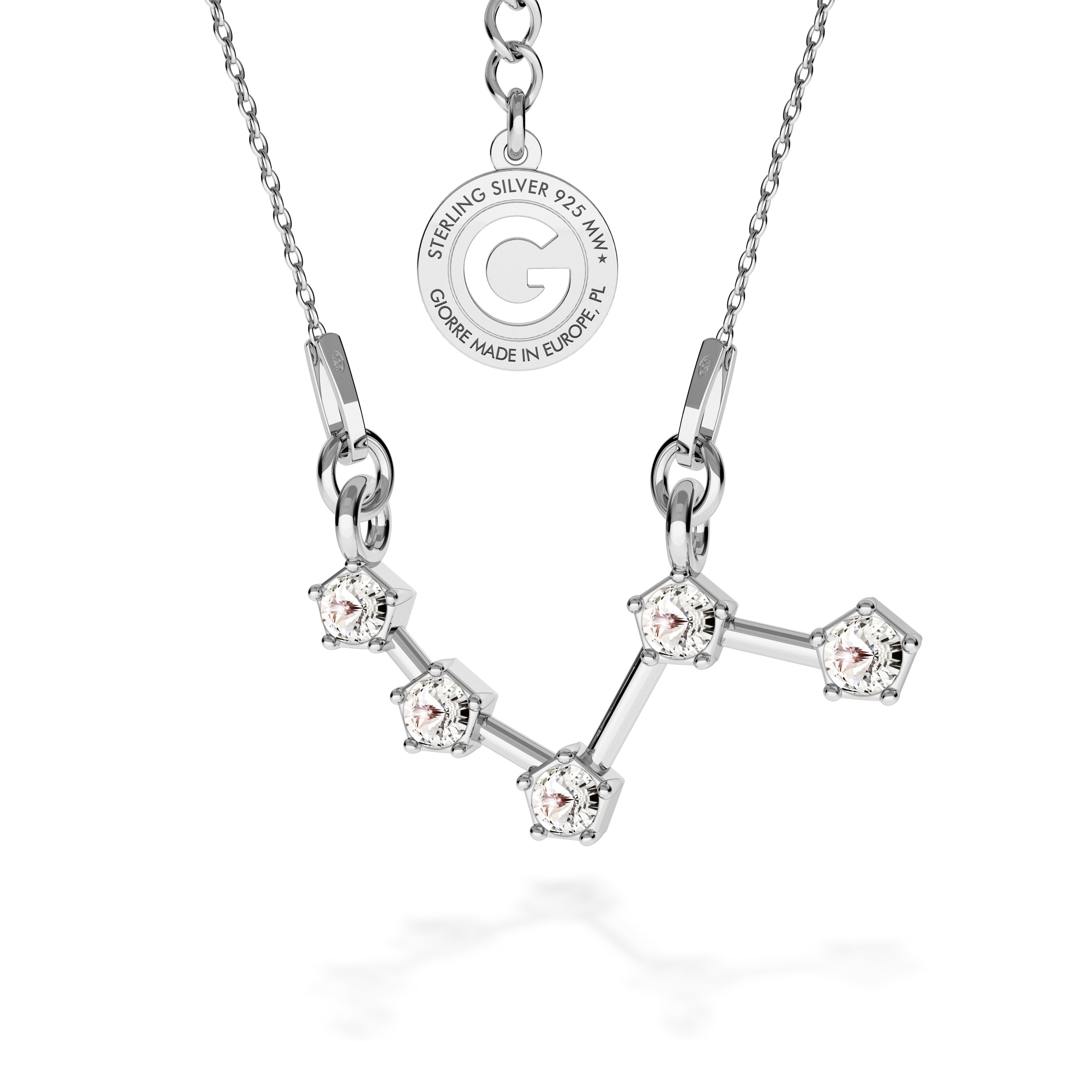 ARIES zodiac sign necklace with Swarovski Crystals silver 925