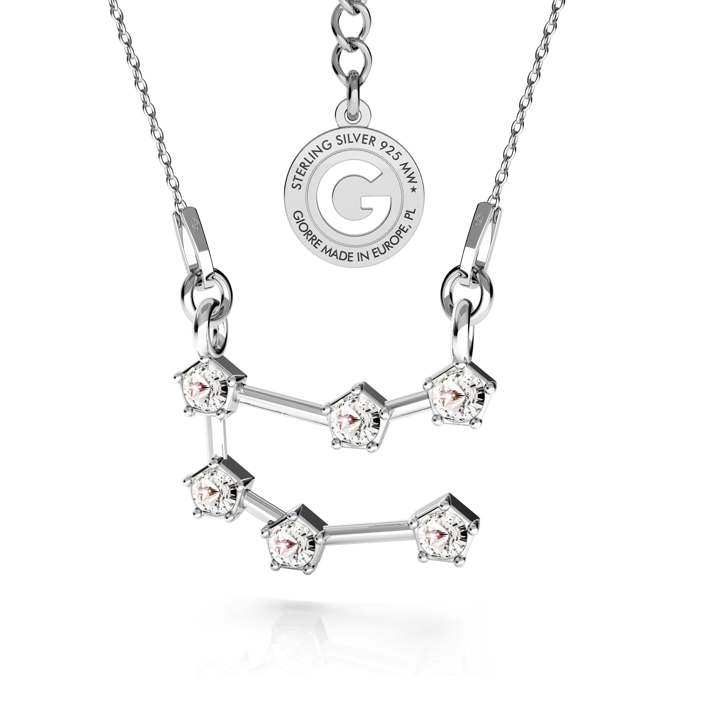 BLIŻNIĘTA srebrny naszyjnik zodiak z kryształami Swarovskiego 925