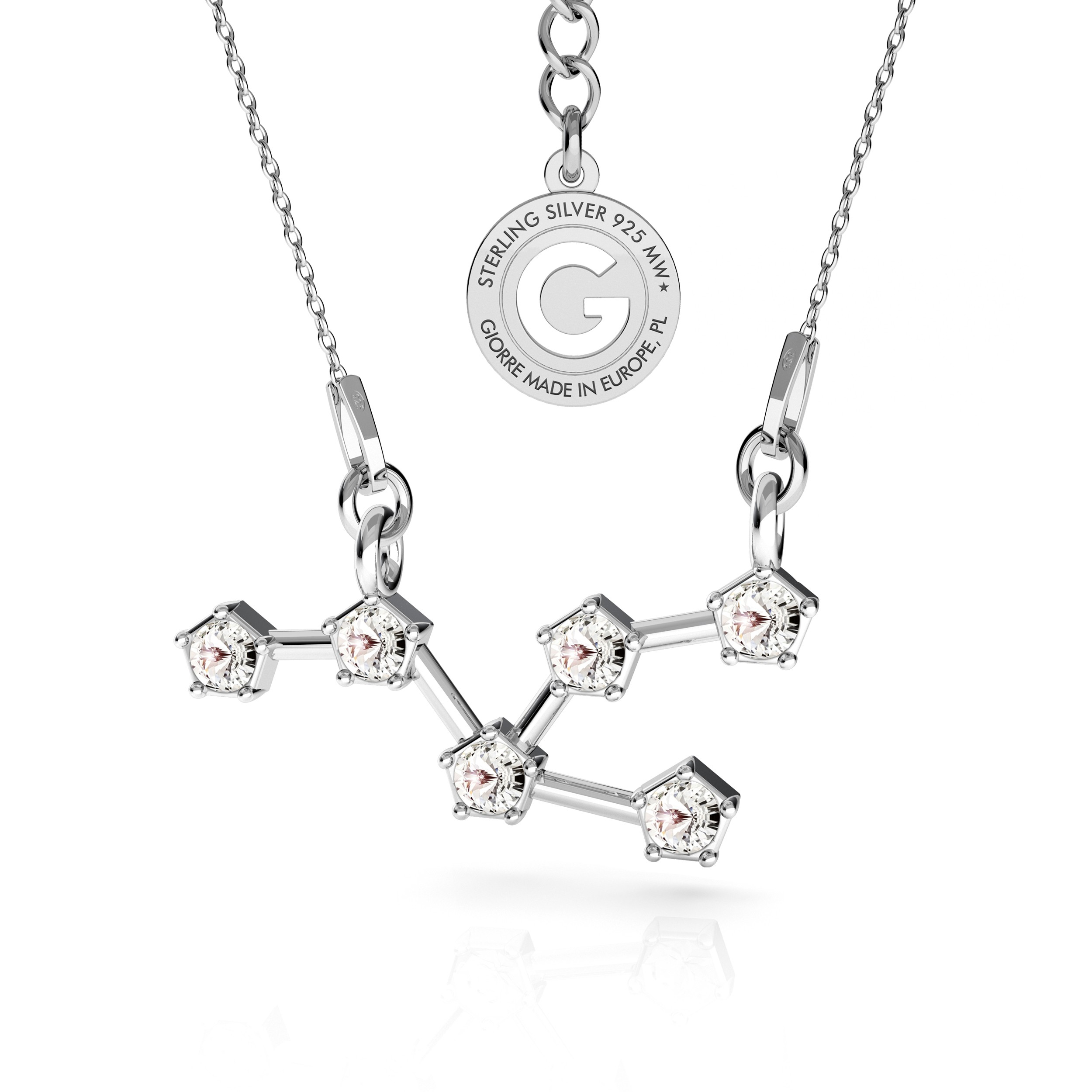 TAURUS zodiac sign necklace with Swarovski Crystals silver 925