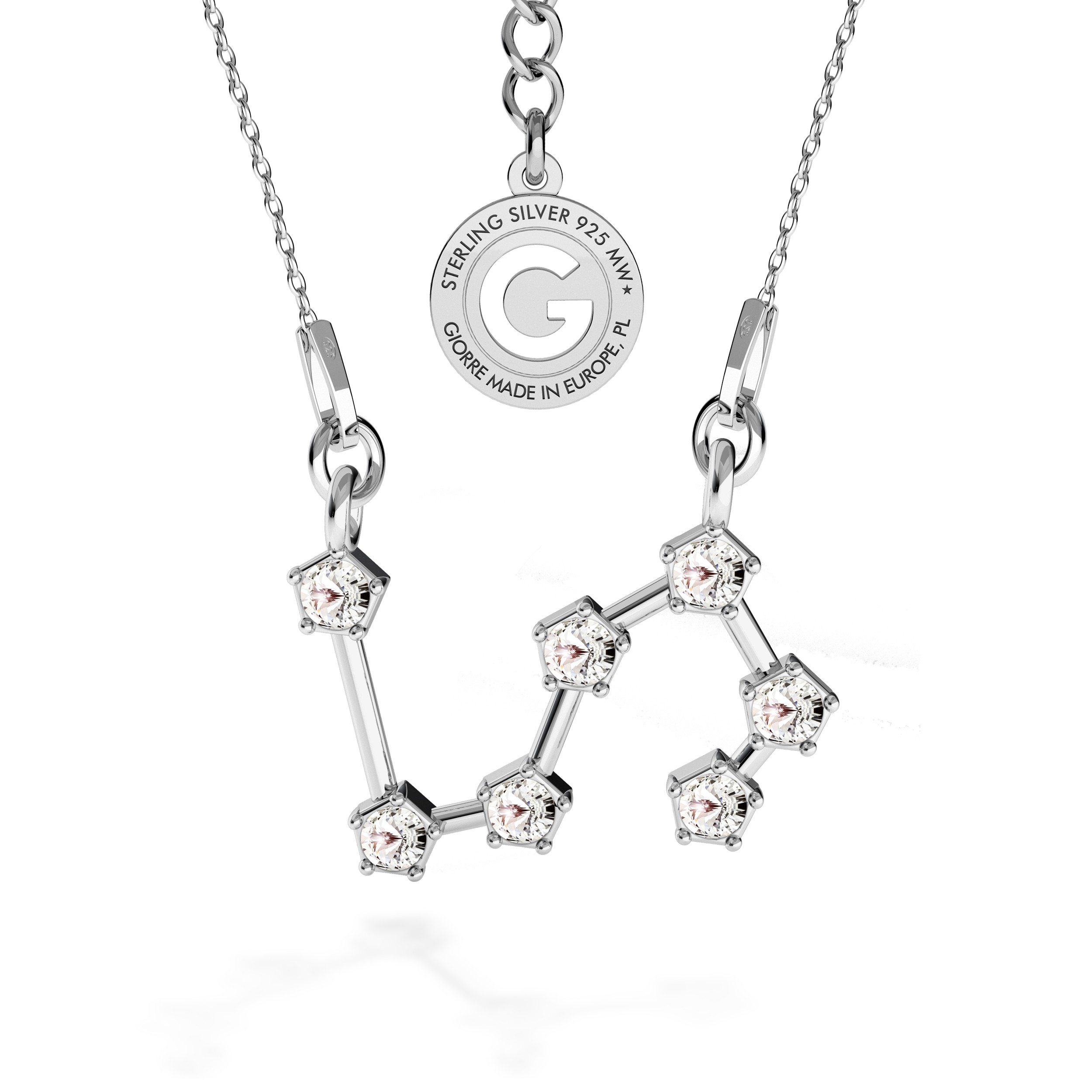 LION zodiac sign necklace with Swarovski Crystals silver 925