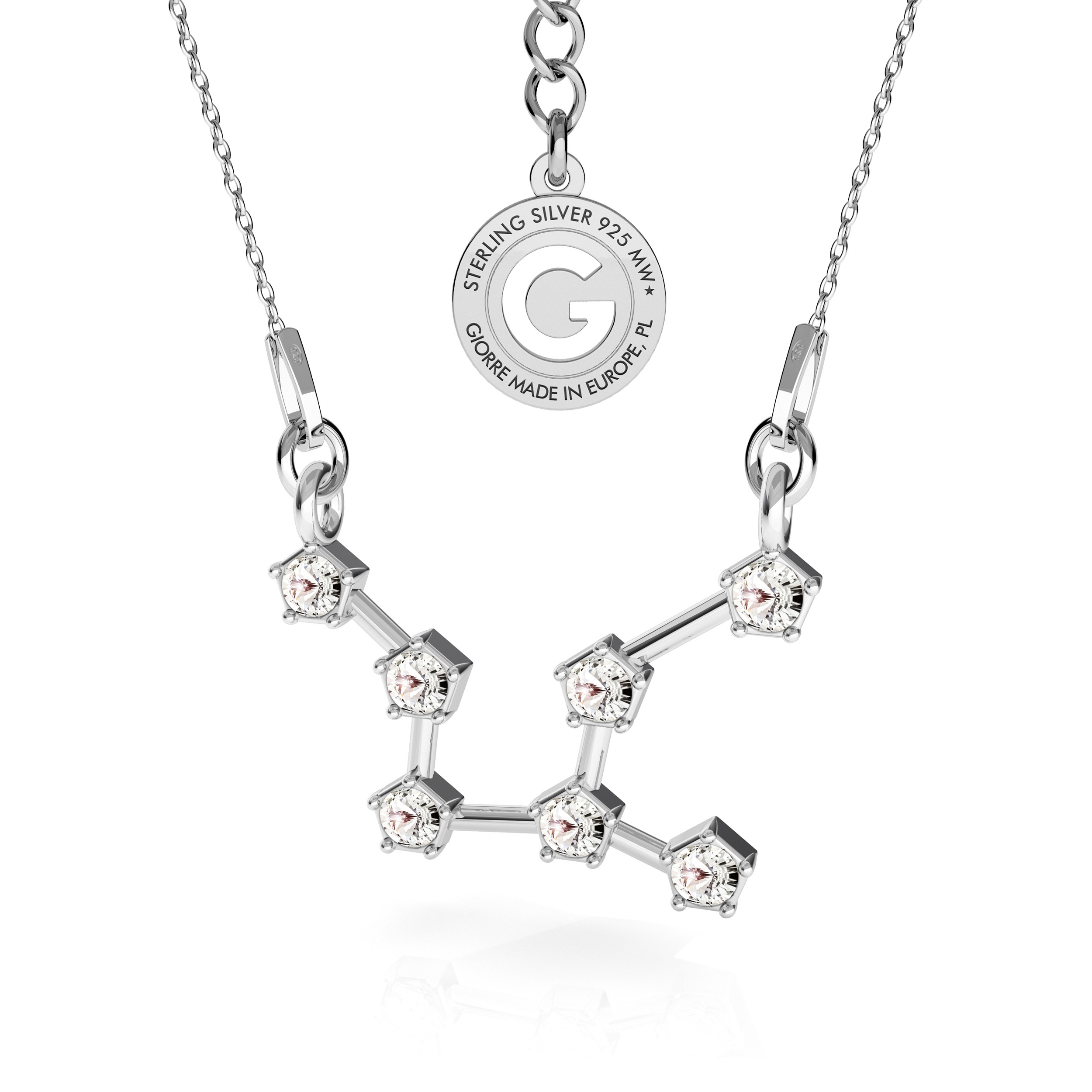 VIRGO zodiac sign necklace with Swarovski Crystals silver 925