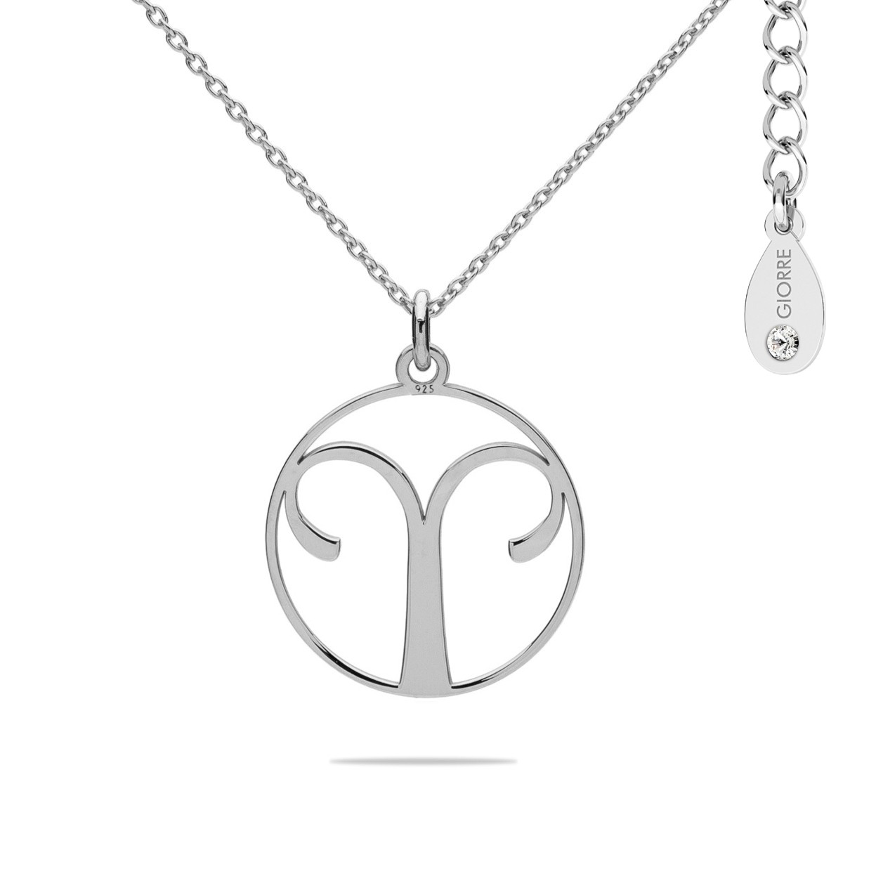 Aries zodiac sign necklace with Swarovski Crystaals sterling silver 925