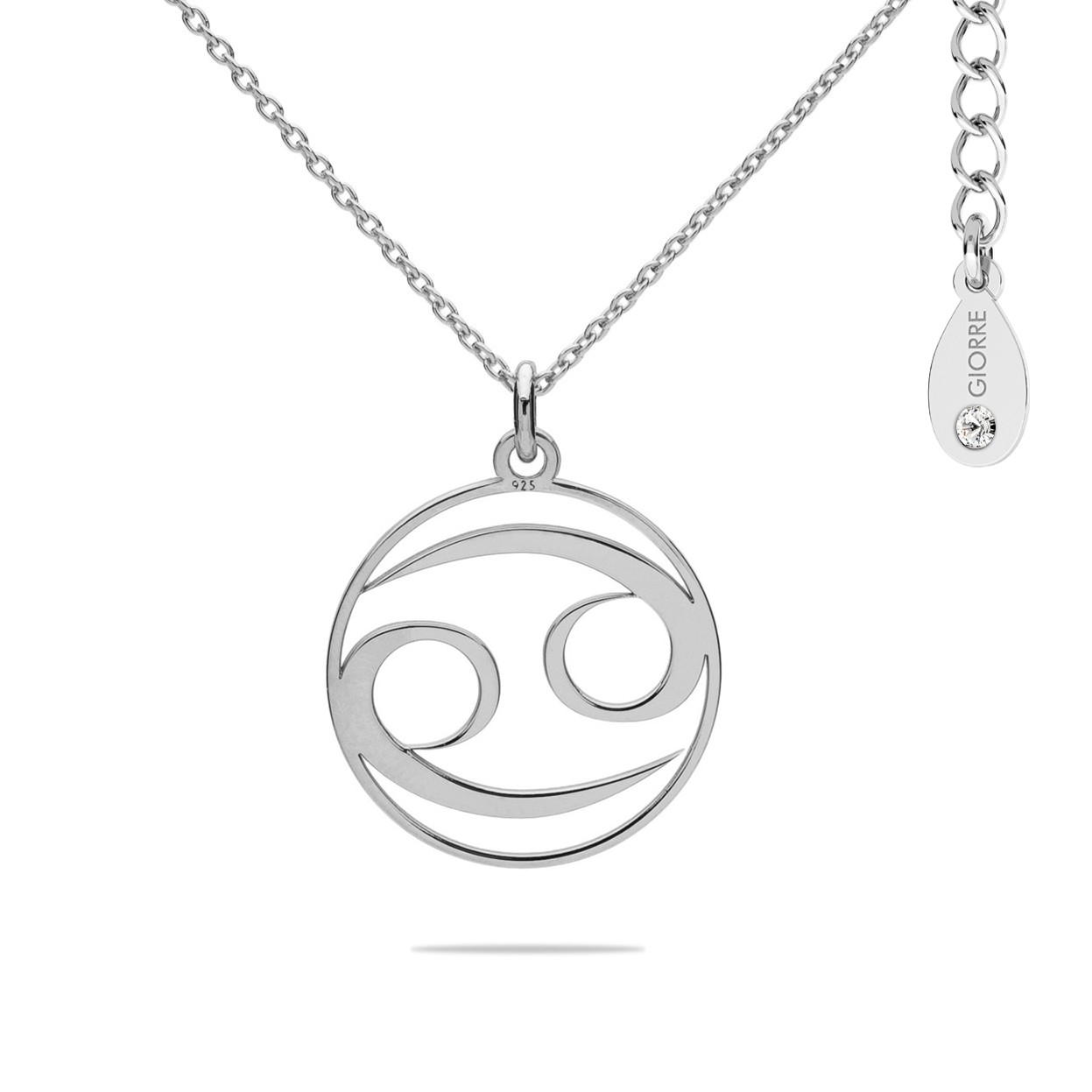 CANCER zodiac sign necklace with Swarovski Crystals sterling silver 925
