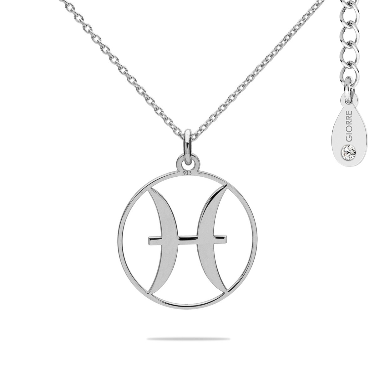 PISCES zodiac sign necklace with Swarovski Crystals sterling silver 925