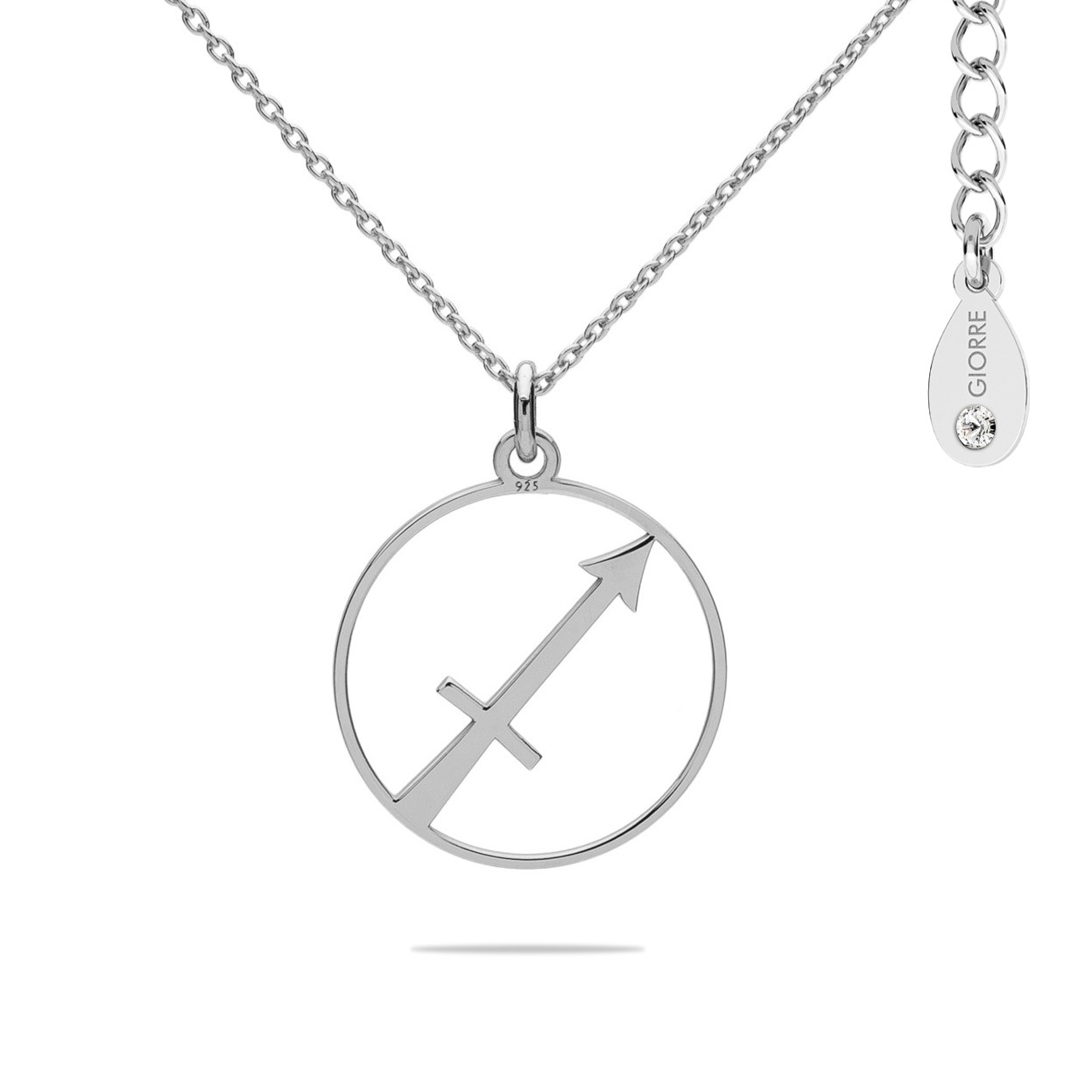 SAGITTARIUS zodiac sign necklace with Swarovski Crystals sterling silver 925