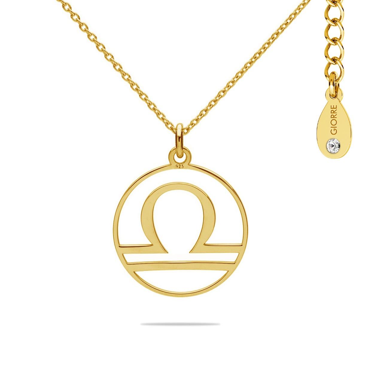 Naszyjnik znak zodiaku WAGA z kryształem Swarovskiego srebro 925