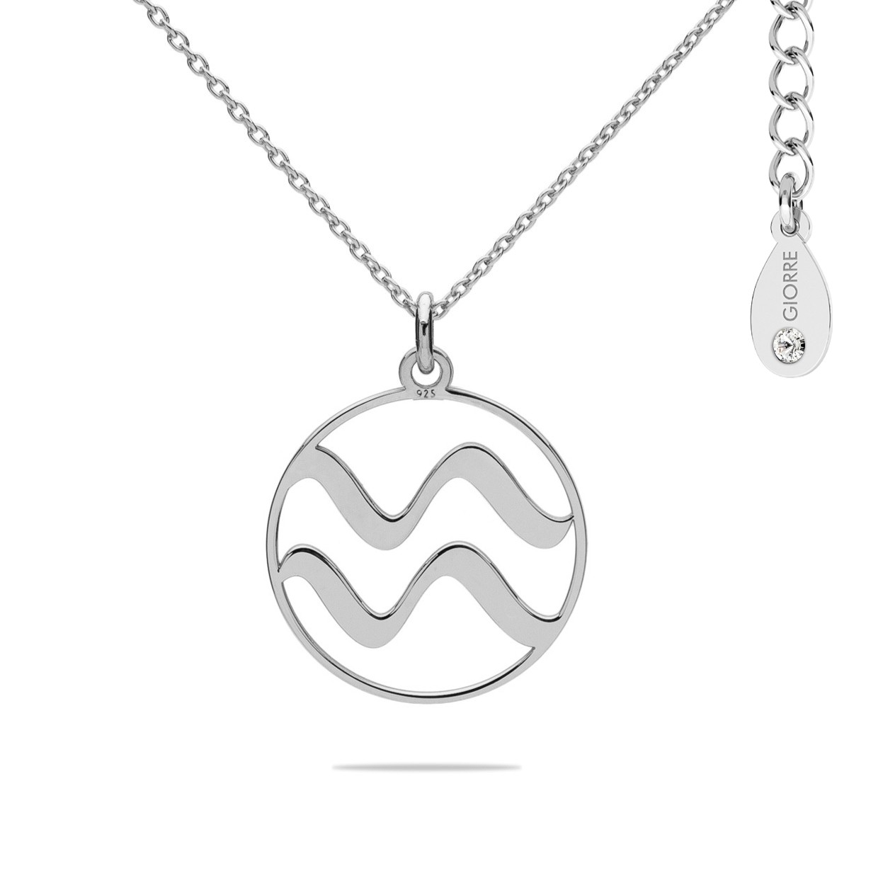 AQUARIUS zodiac sign necklace with Swarovski Crystals sterling silver 925