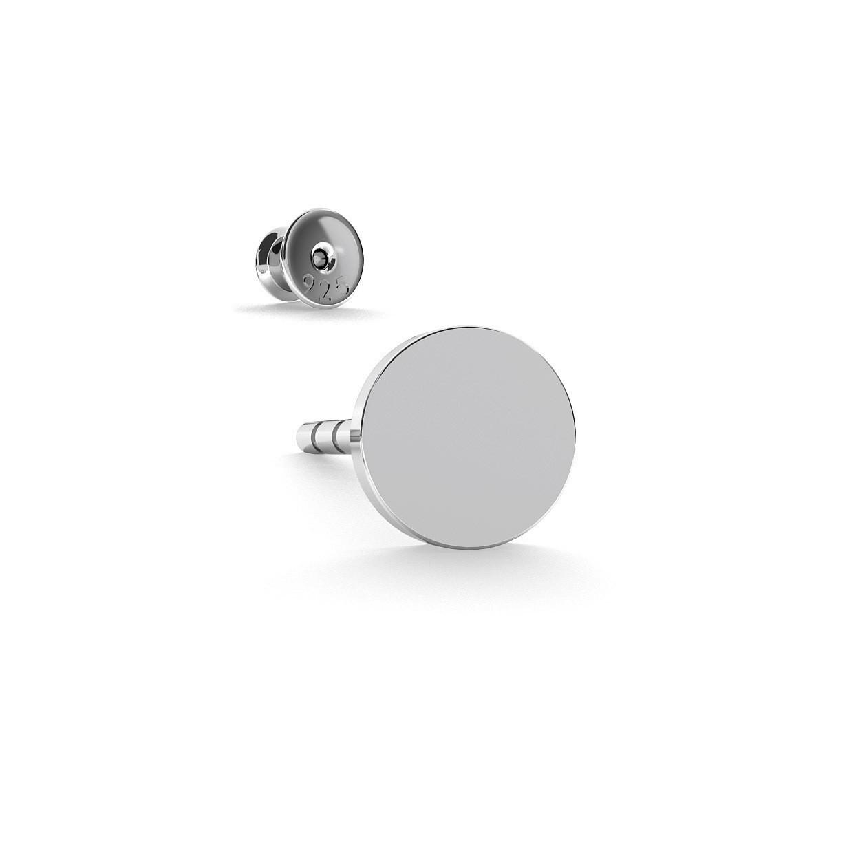 Srebrny kolczyk okrągła blaszka 4mm 925
