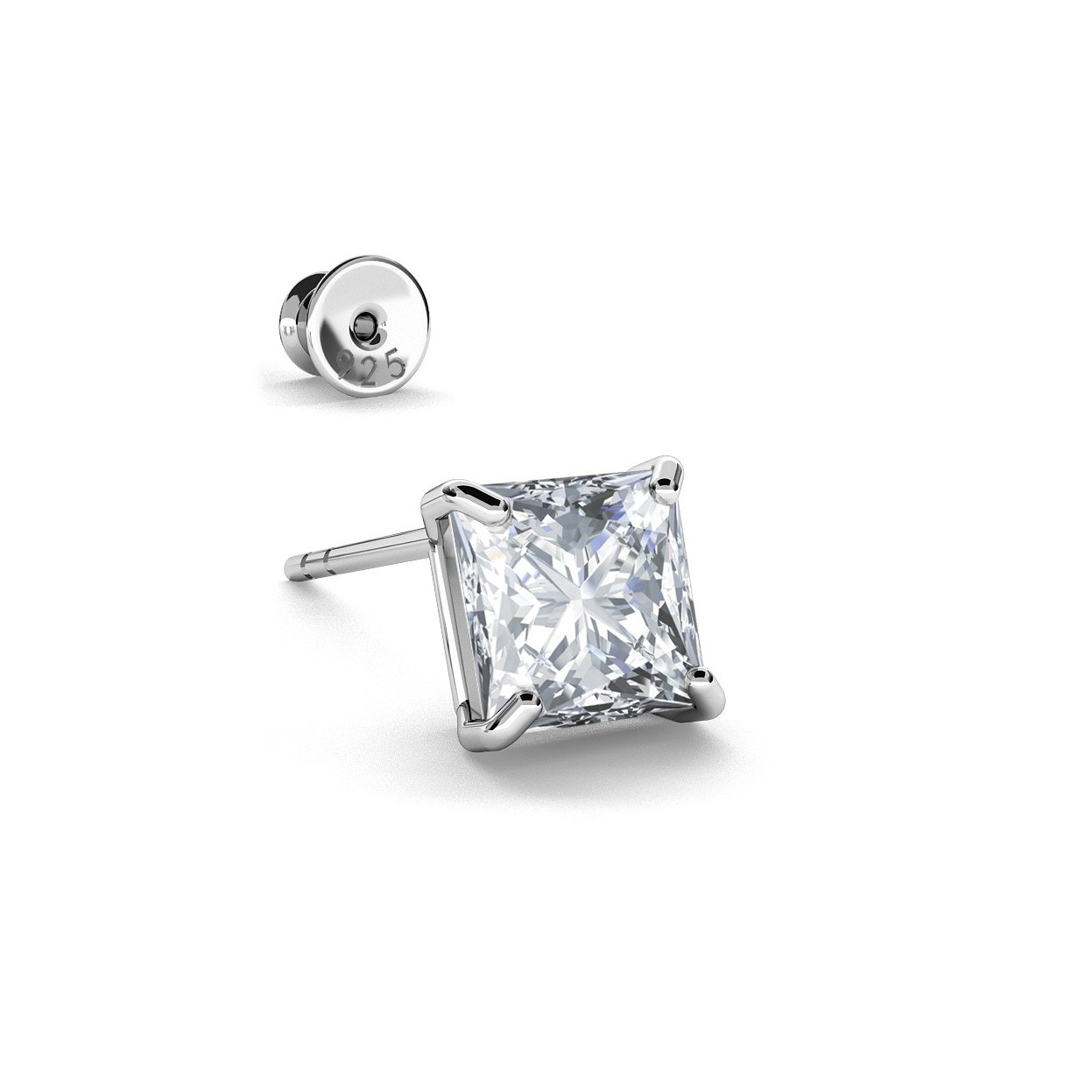 Earrings swarovski zirconia 6x6 mm