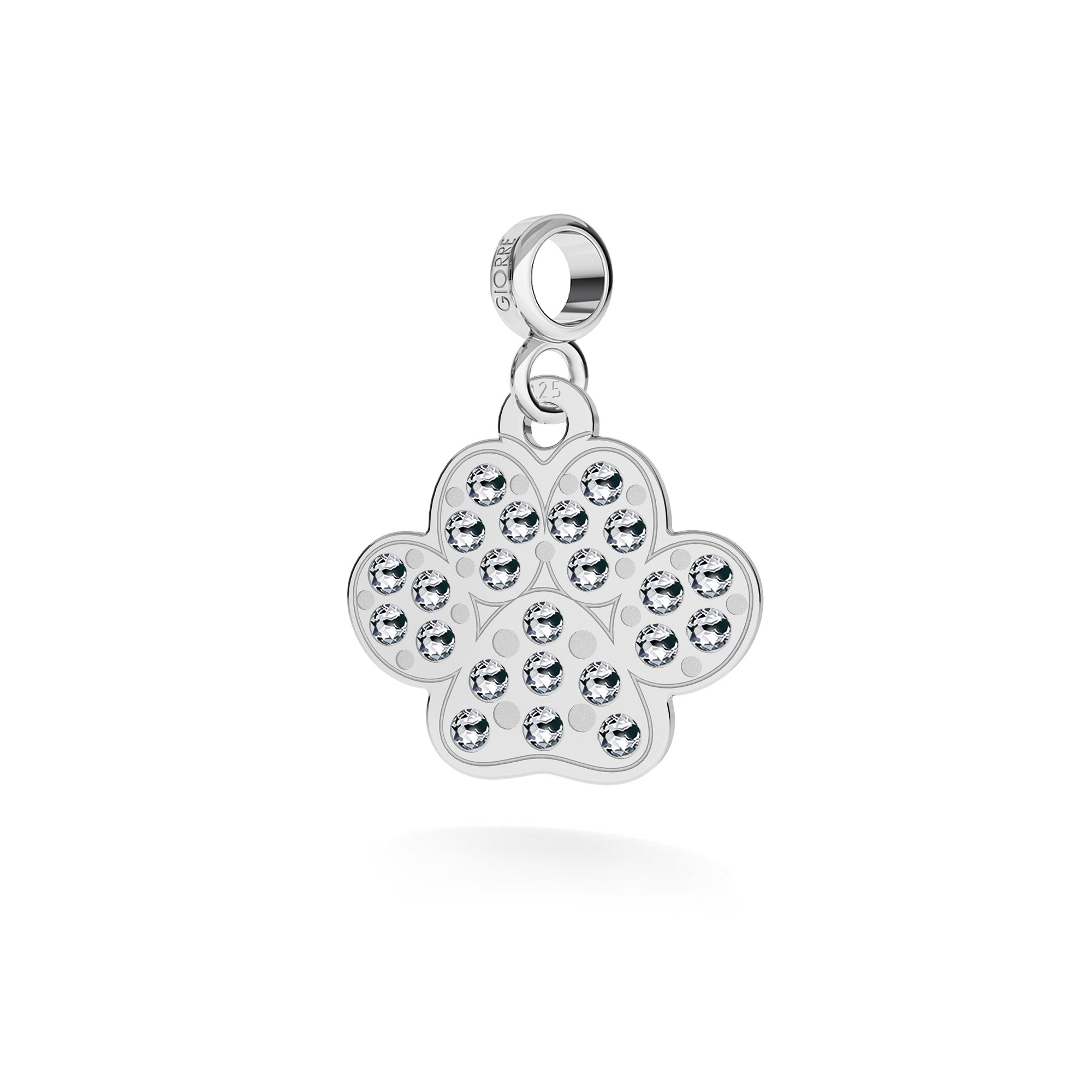 DOG PAW necklace with Swarovski crystals silver 925