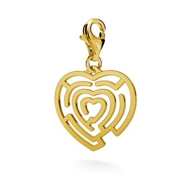 CHARM 24, HEART LABYRINTH, SILVER 925, RHODIUM OR GOLD PLATED