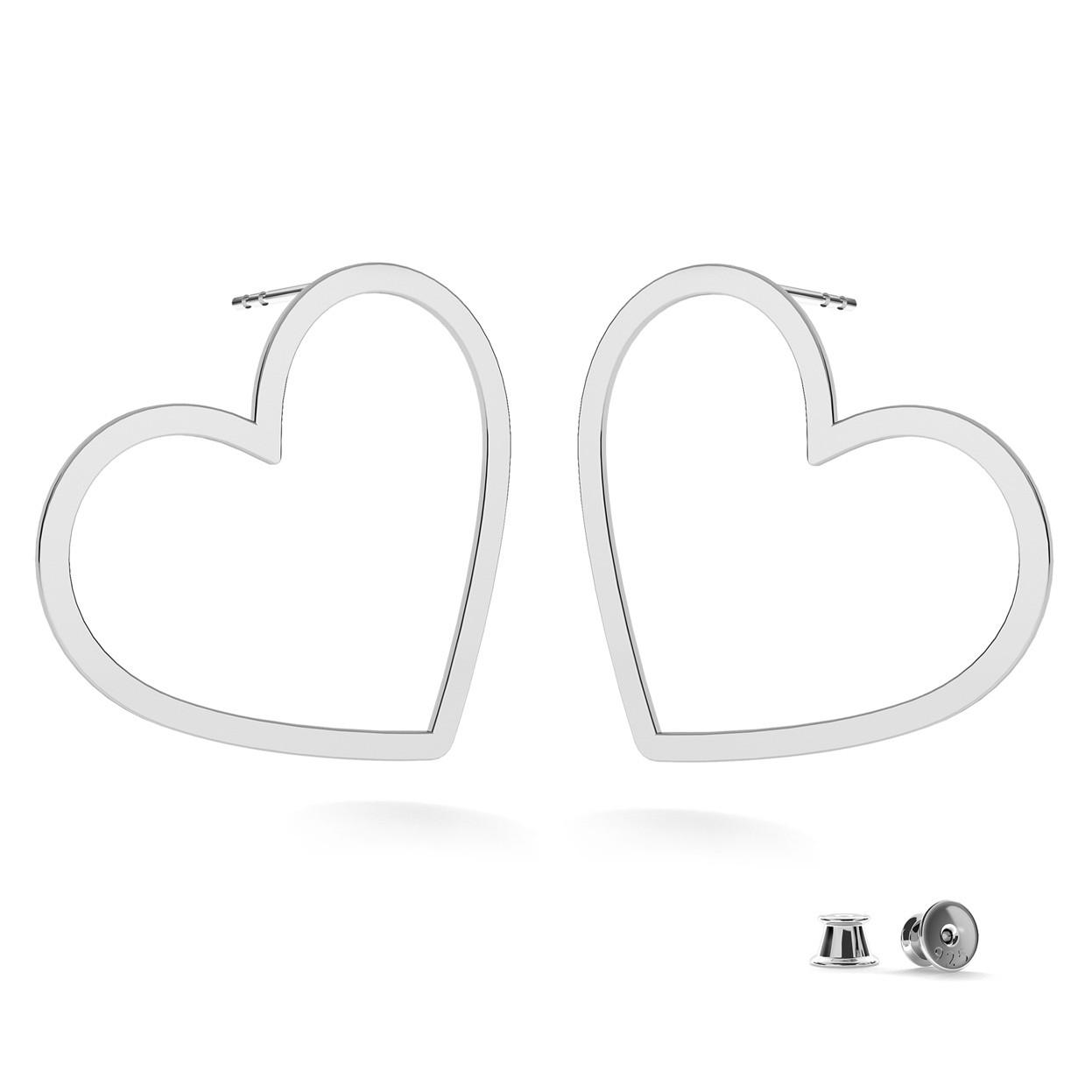 Kolczyki duże serce, srebro 925