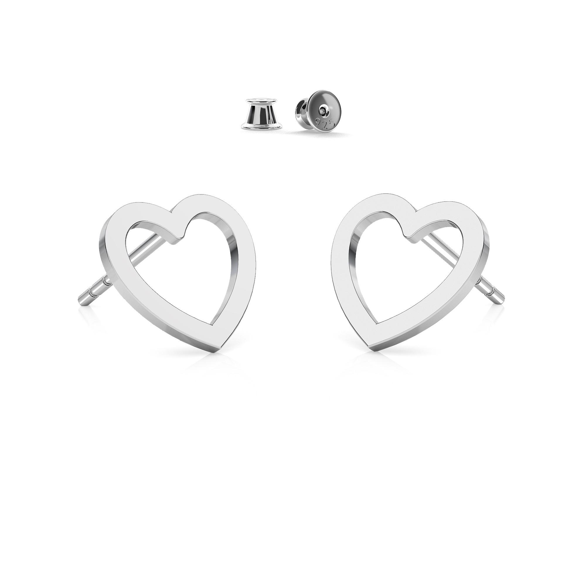 Kolczyki małe serce, srebro 925