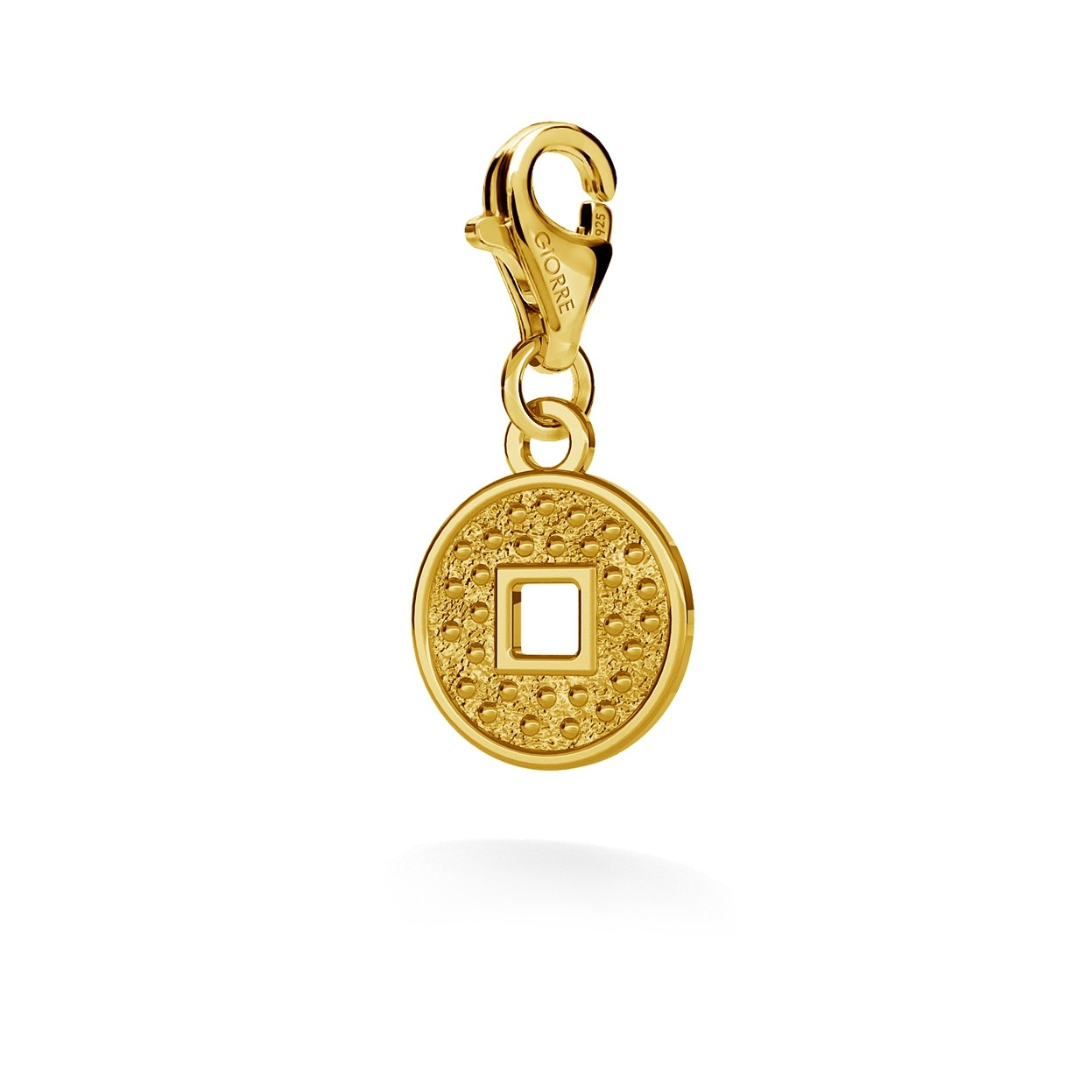 CHARM 40, CHINESE COIN, SILVER 925, RHODIUM OR GOLD PLATED