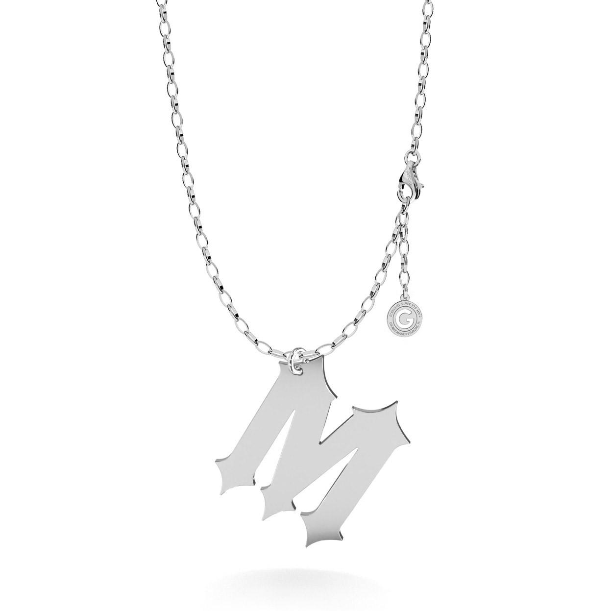 Srebrny naszyjnik z dużą literką, alfabet, srebro 925