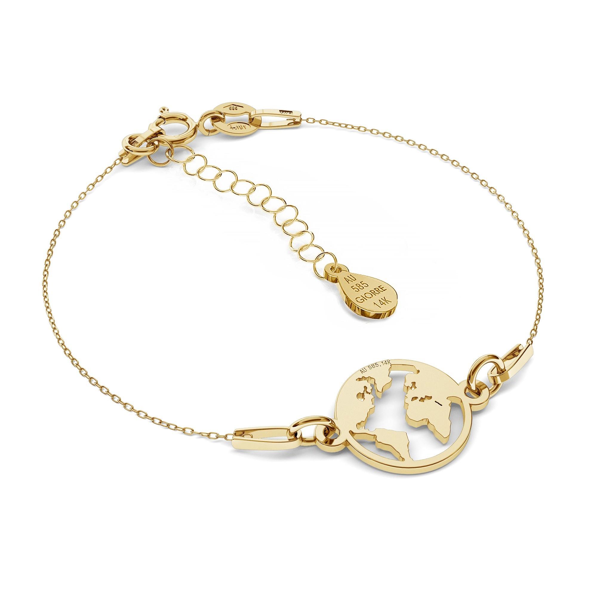 Złota bransoletka MON DÉFI - Kula Ziemska, złoto 585