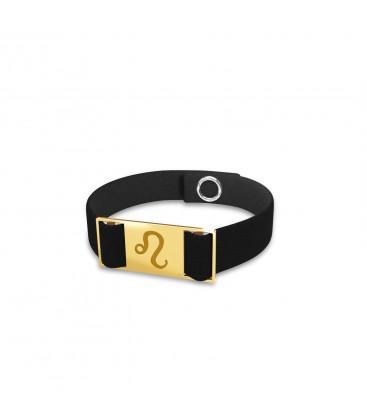 Lion signe du zodiaque bracelet, alcantara, argent 925