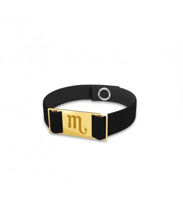 Scorpion zodiac sign bracelet, alcantara & sterling silver 925