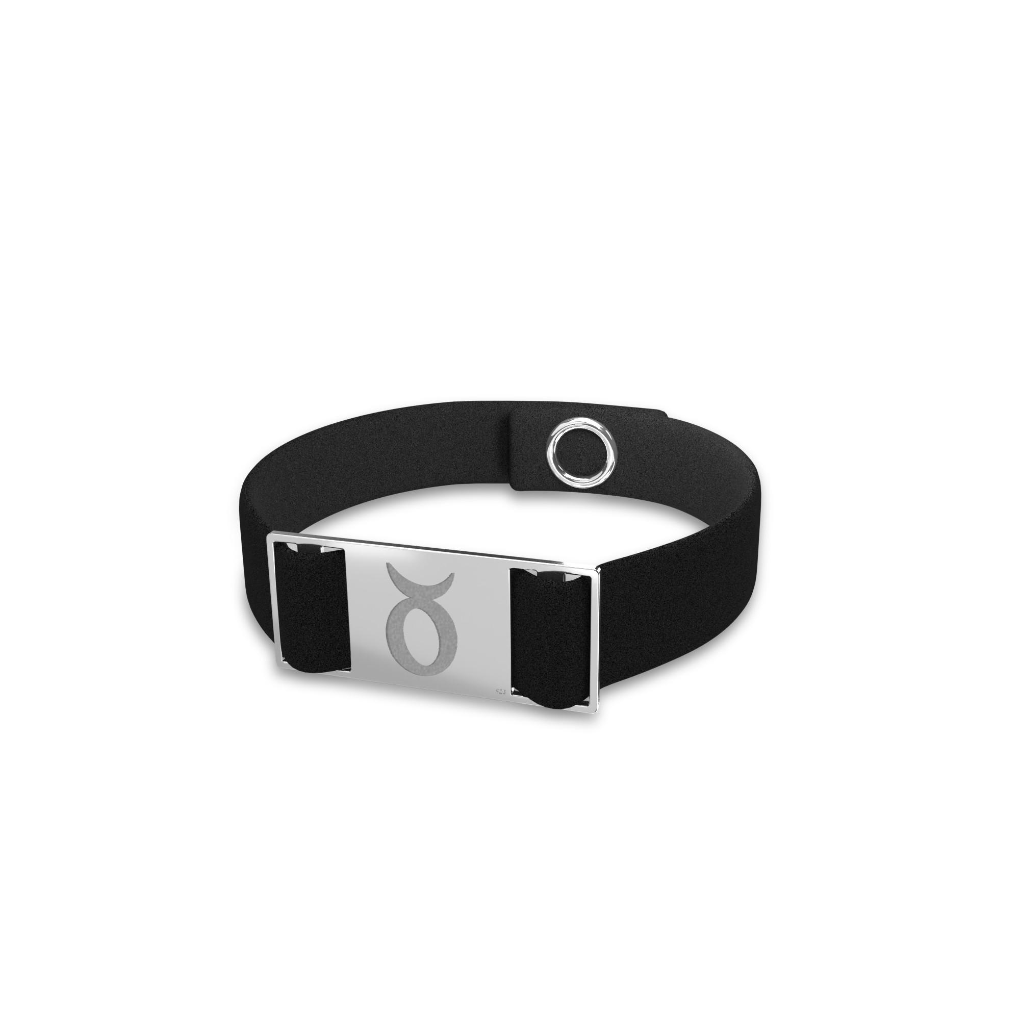 Taurus zodiac sign bracelet, alcantara & sterling silver 925