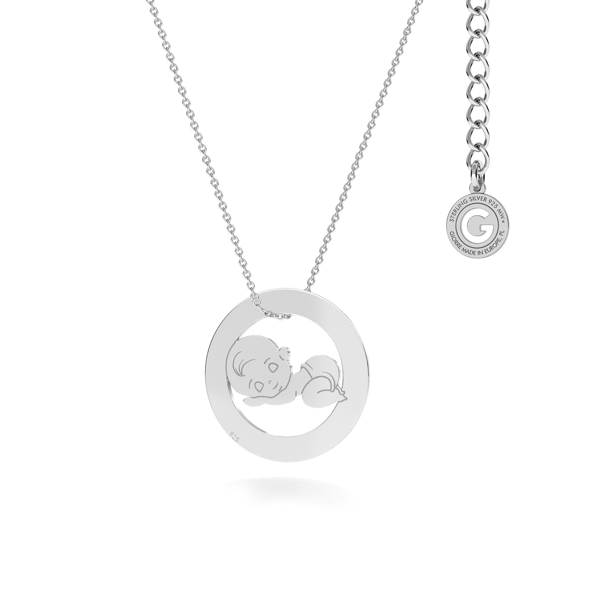 Collar para madre e hijo, nino grabado, plata 925